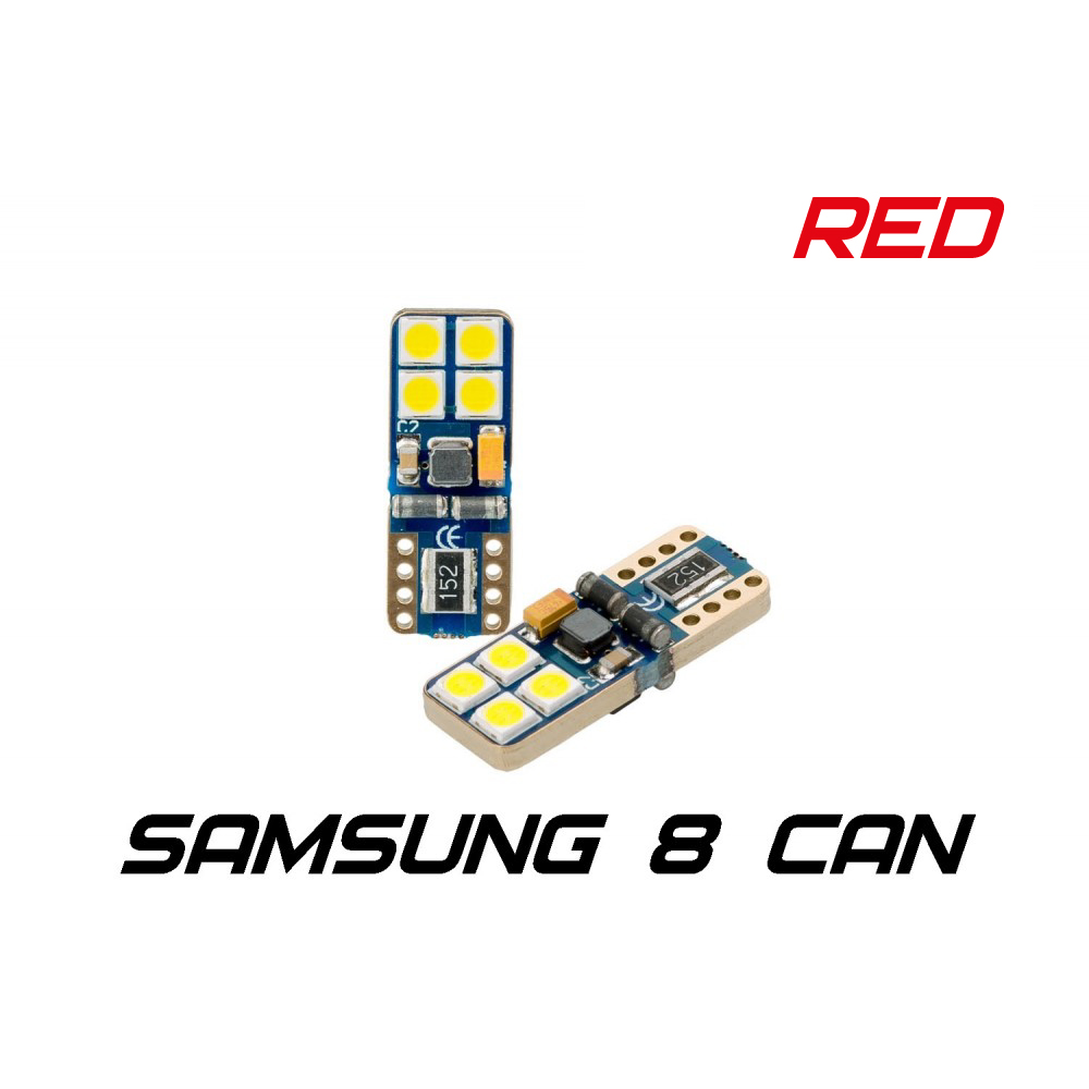 Optima Premium W5W (T10) Samsung Chip 8 CAN RED