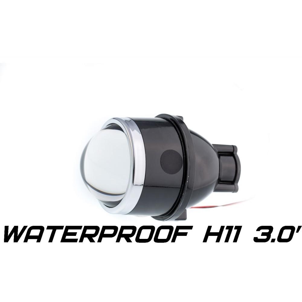 Универсальный би-модуль Optimа Waterproof Lens 3.0' H11, модуль для противотуманных фар под лампу H11 3.0 дюйма